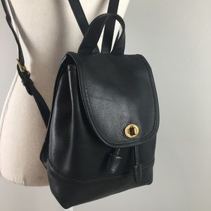 Coach leather drawstring small backpack black 9960